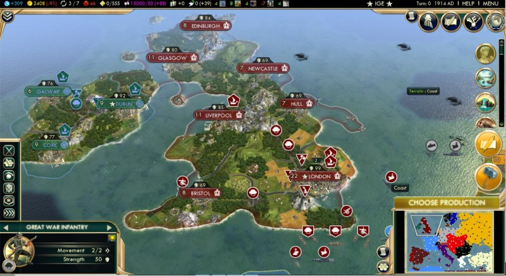 WWI britain map Civ5